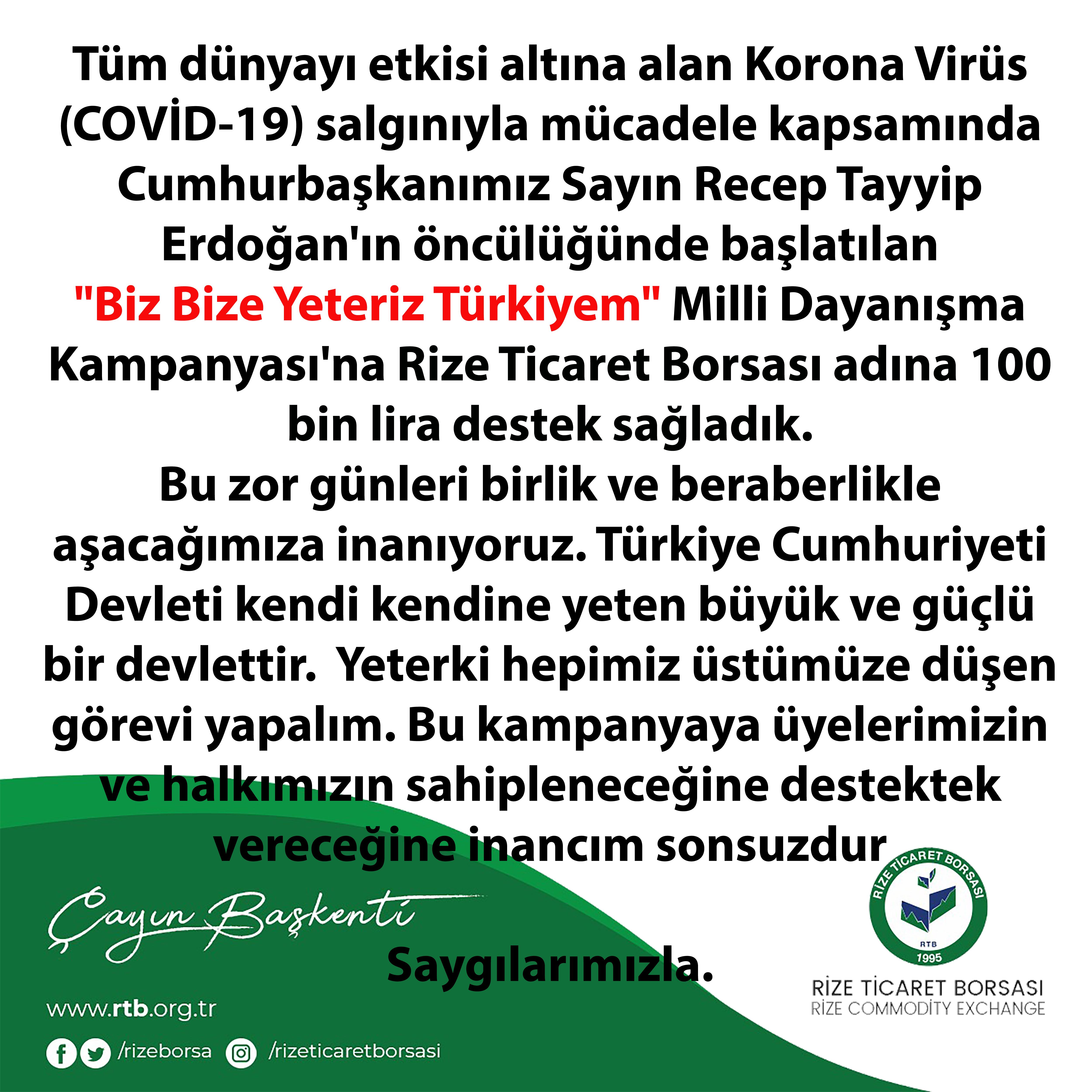 Biz Bize Yeteriz Türkiyem Kampanyasına Borsadan Tam Destek